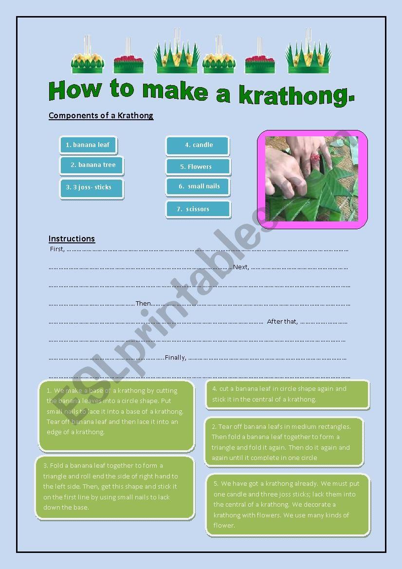 ็How to make a Krathong worksheet