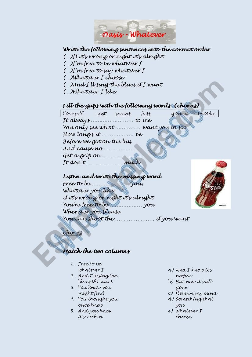 whatever by Oasis worksheet