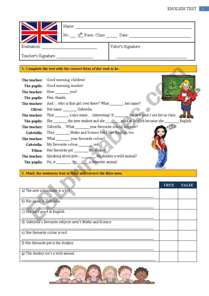 Test - 6th Grade worksheet