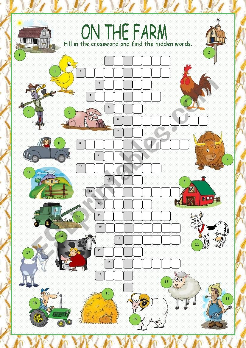 On the Farm Crossword Puzzle worksheet