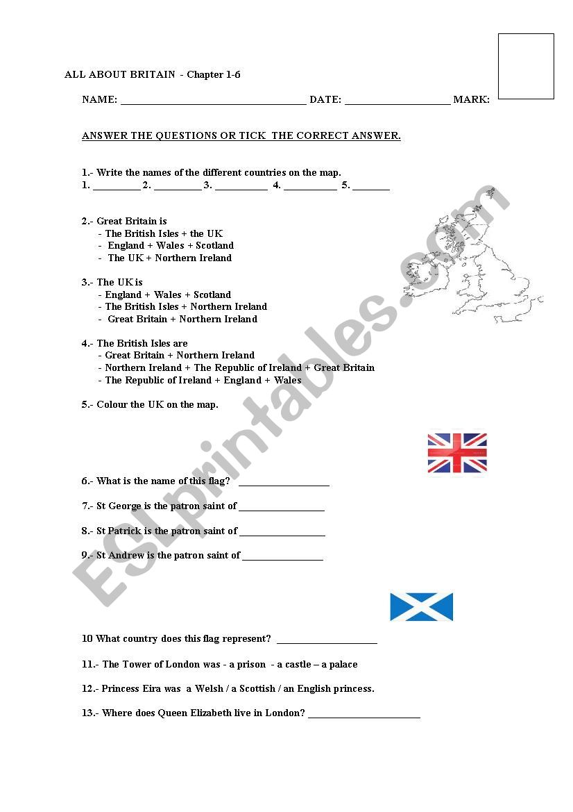 All About Britain Test (Chapter 1-6)  - Reader by Burlington