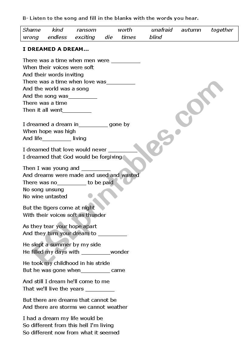 worksheet Les Miserables Worksheet english worksheets les miserables before watching activity song