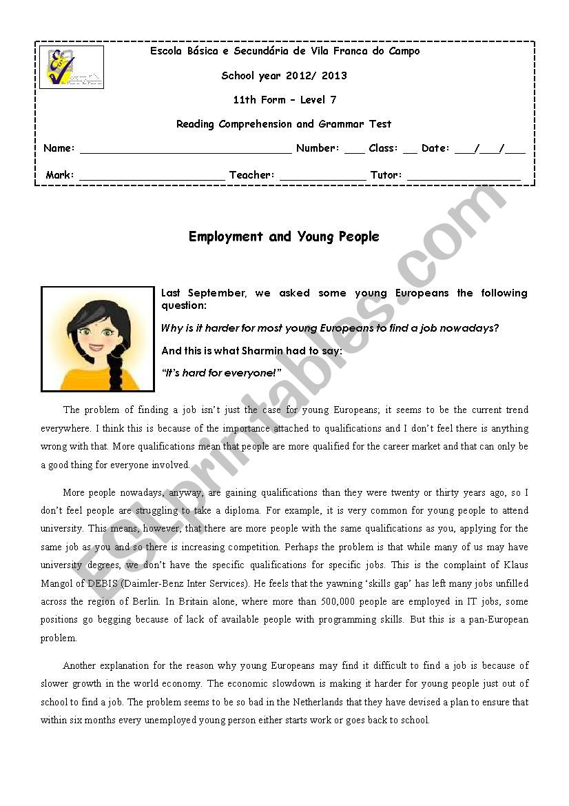 11th form test - The World of Work