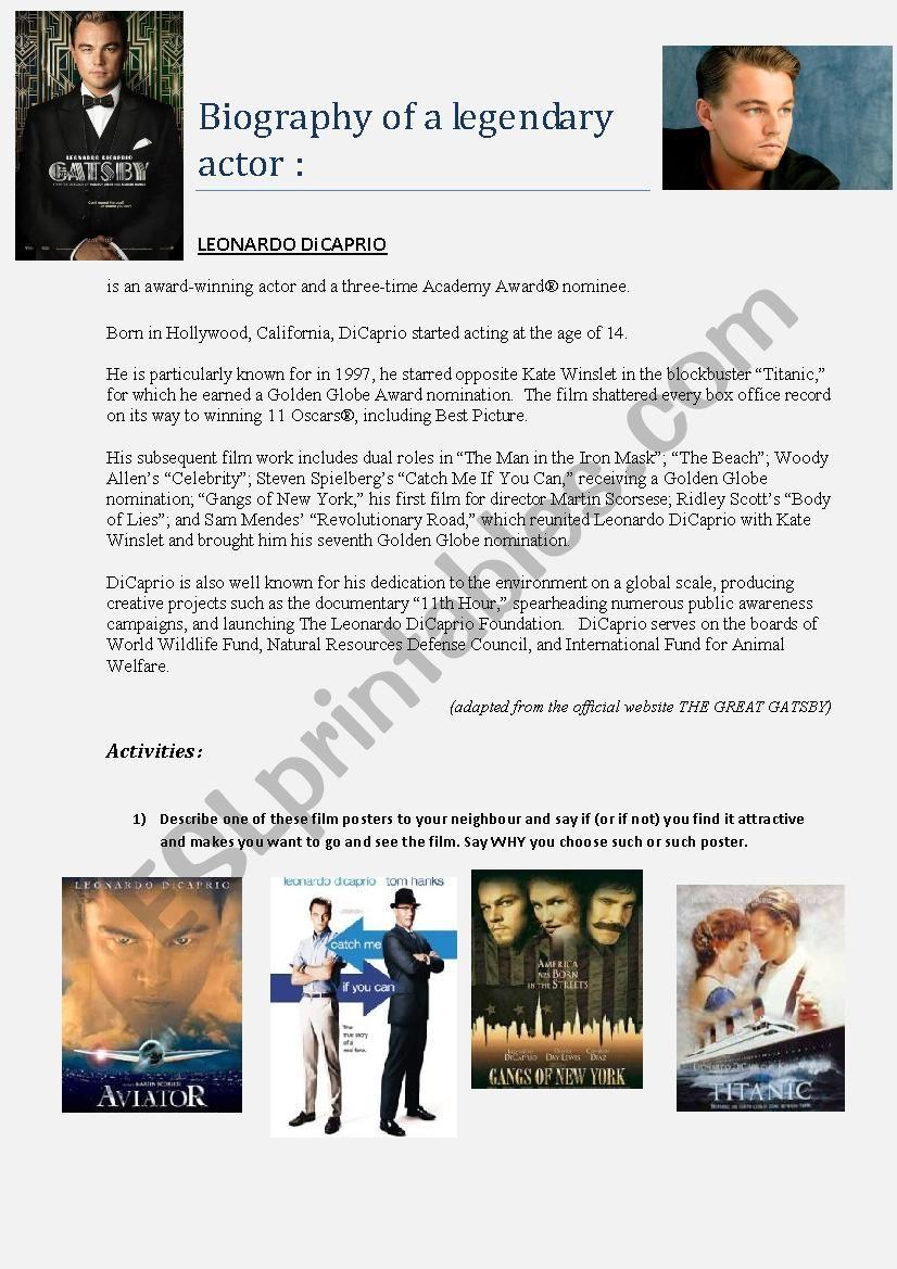 Biography Leonardo Di Caprio  worksheet