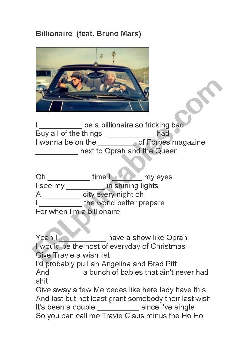 Billionaire - Bruno Mars worksheet