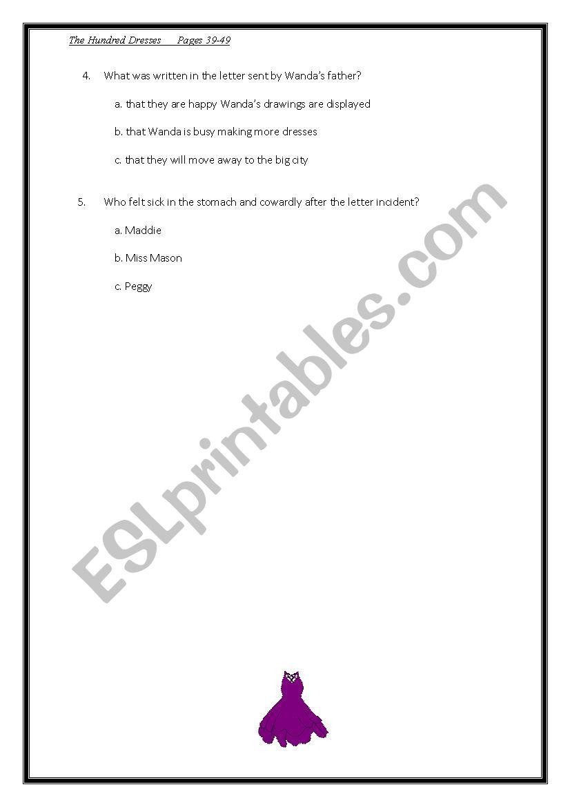 worksheet The Hundred Dresses Worksheets english worksheets the hundred dresses chapter 5
