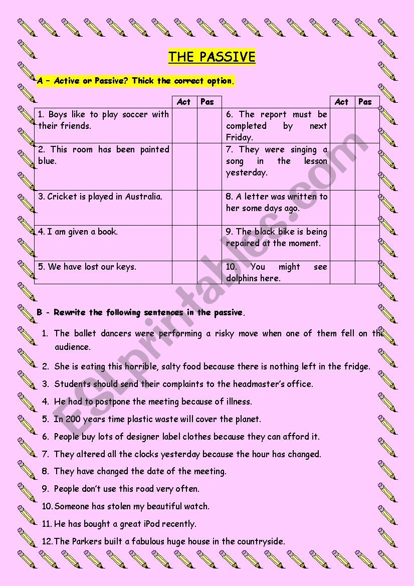 The Passive worksheet