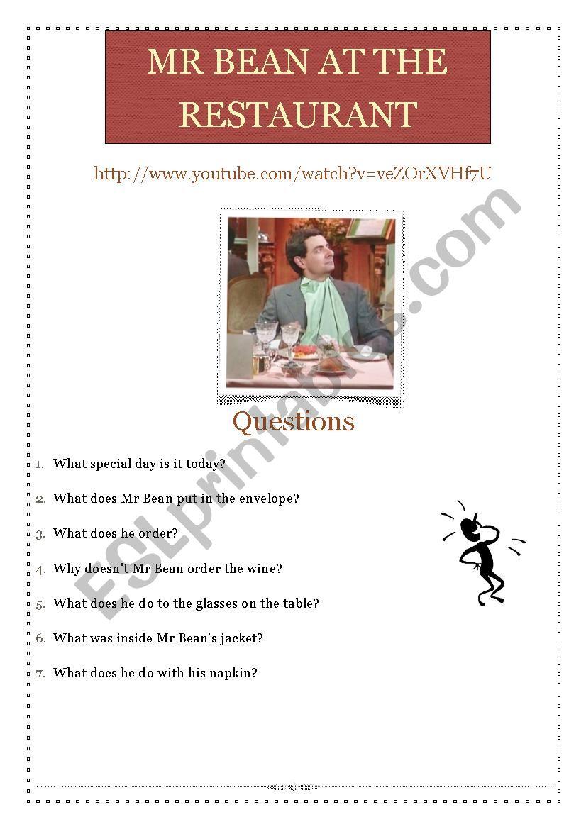 Mr Bean in the restaurant worksheet