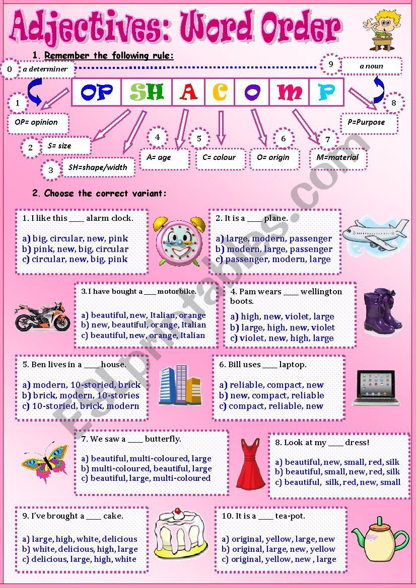 Adjectives:Word Order worksheet