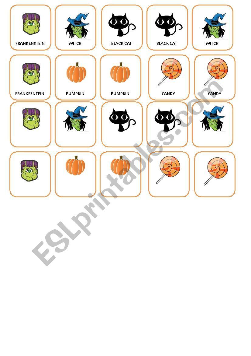 Memory cards game worksheet