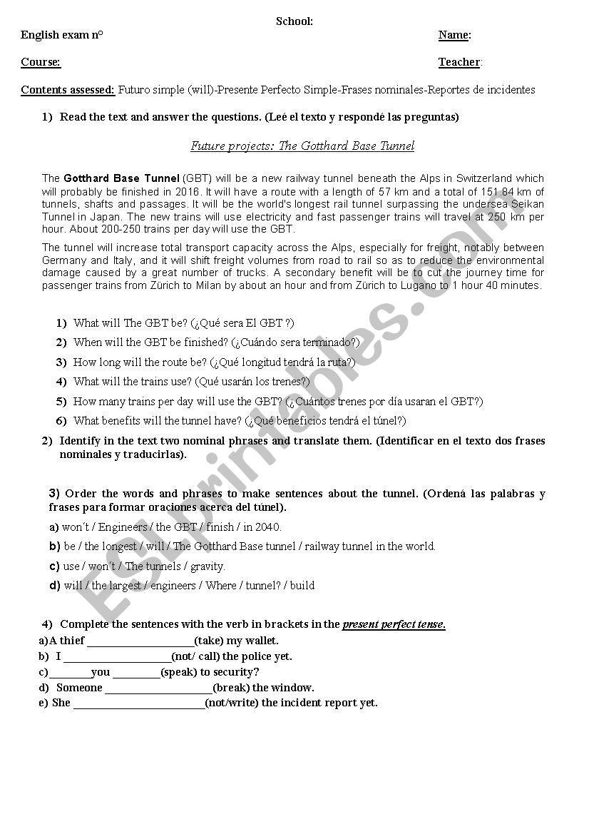 Technical english exam worksheet