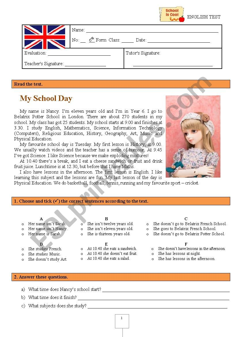 Test  (6th grade) - My school day