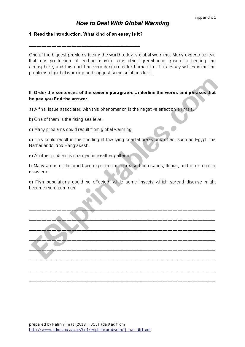 Problem-Solution Essay worksheet