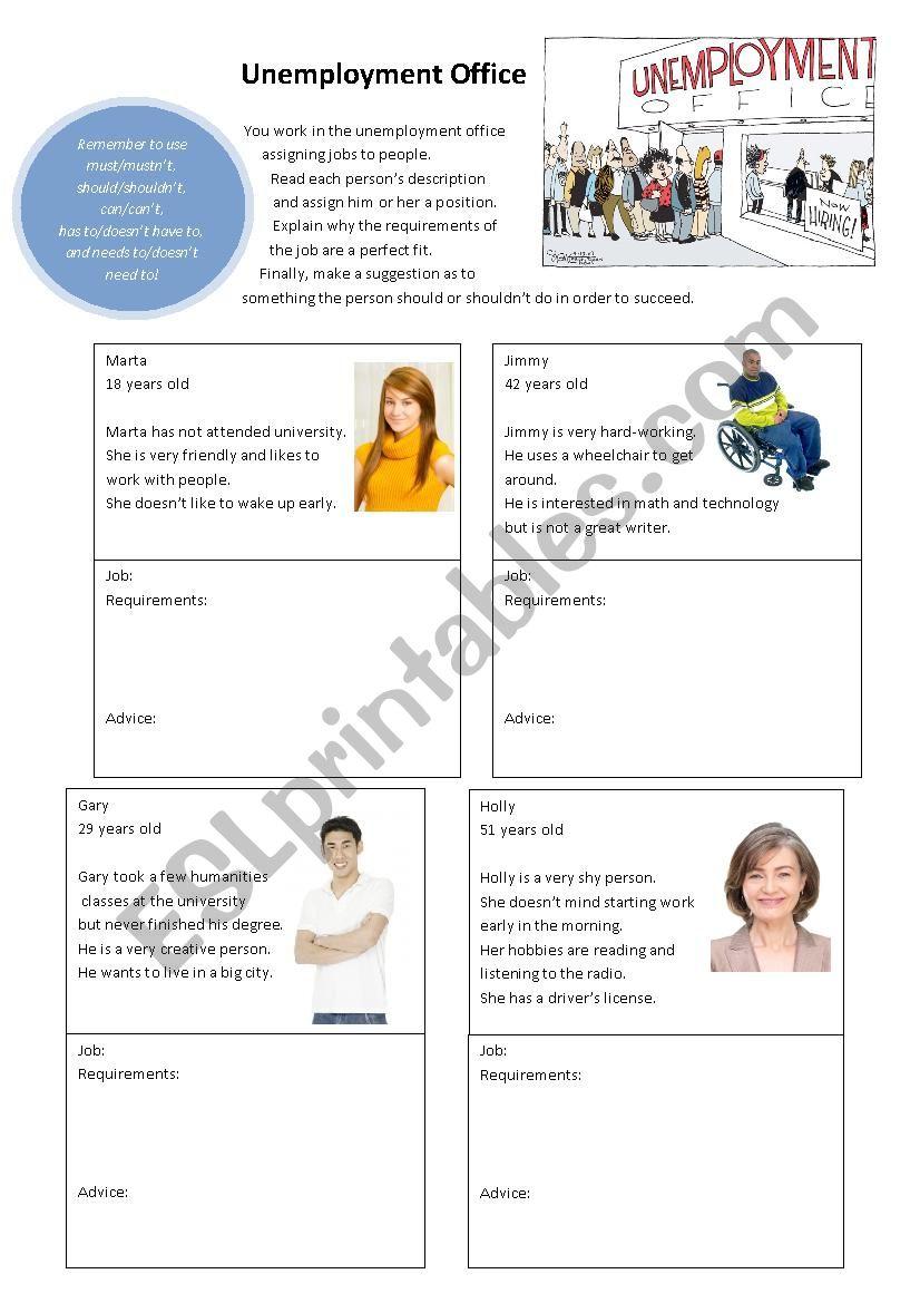 Unemployment Office worksheet