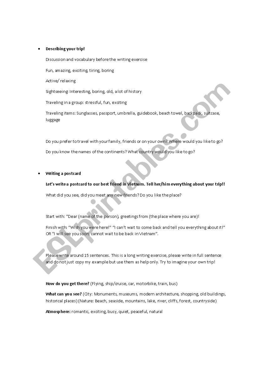 Letter To The Friend Holidays Description Esl Worksheet By Marta Joanna88