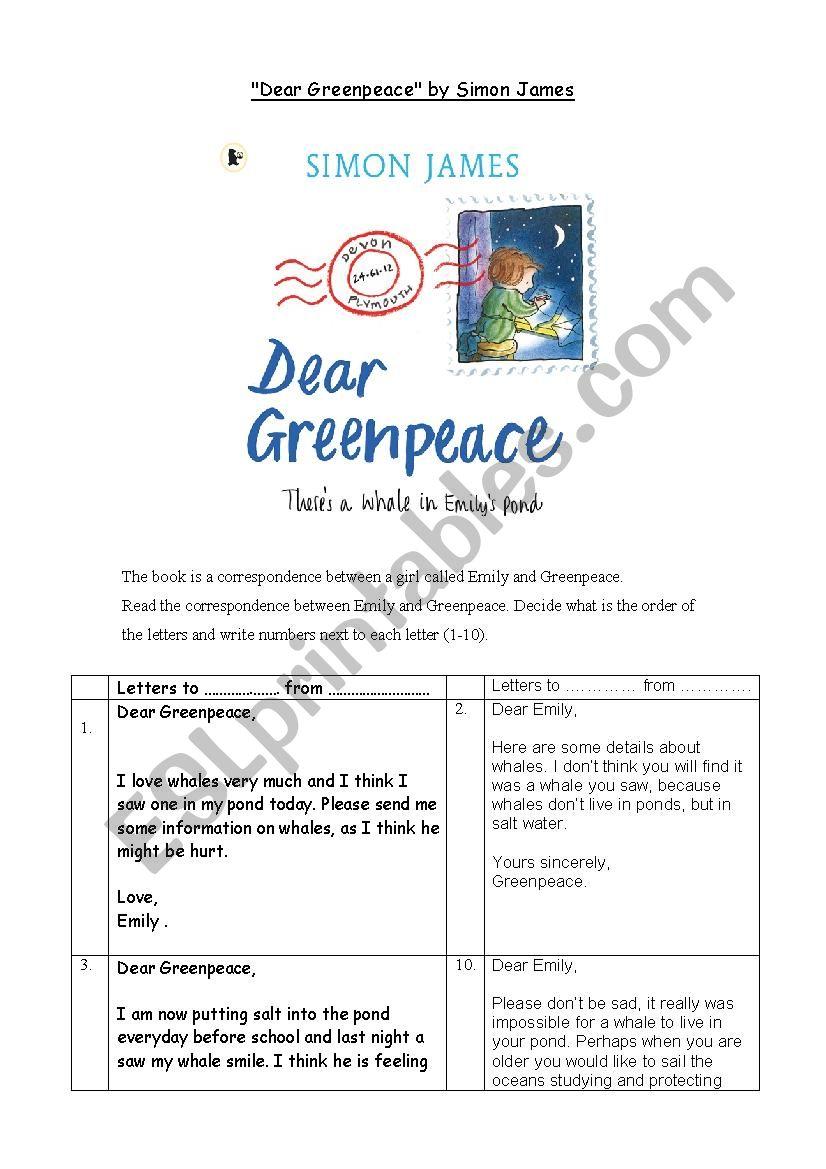 Dear Greenpeace worksheet