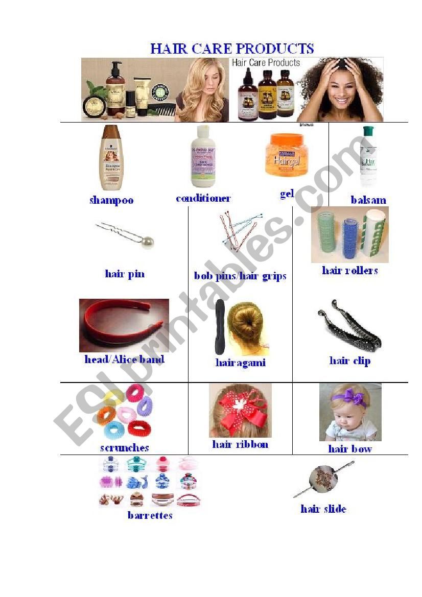 Hair Care Products Pictionary worksheet