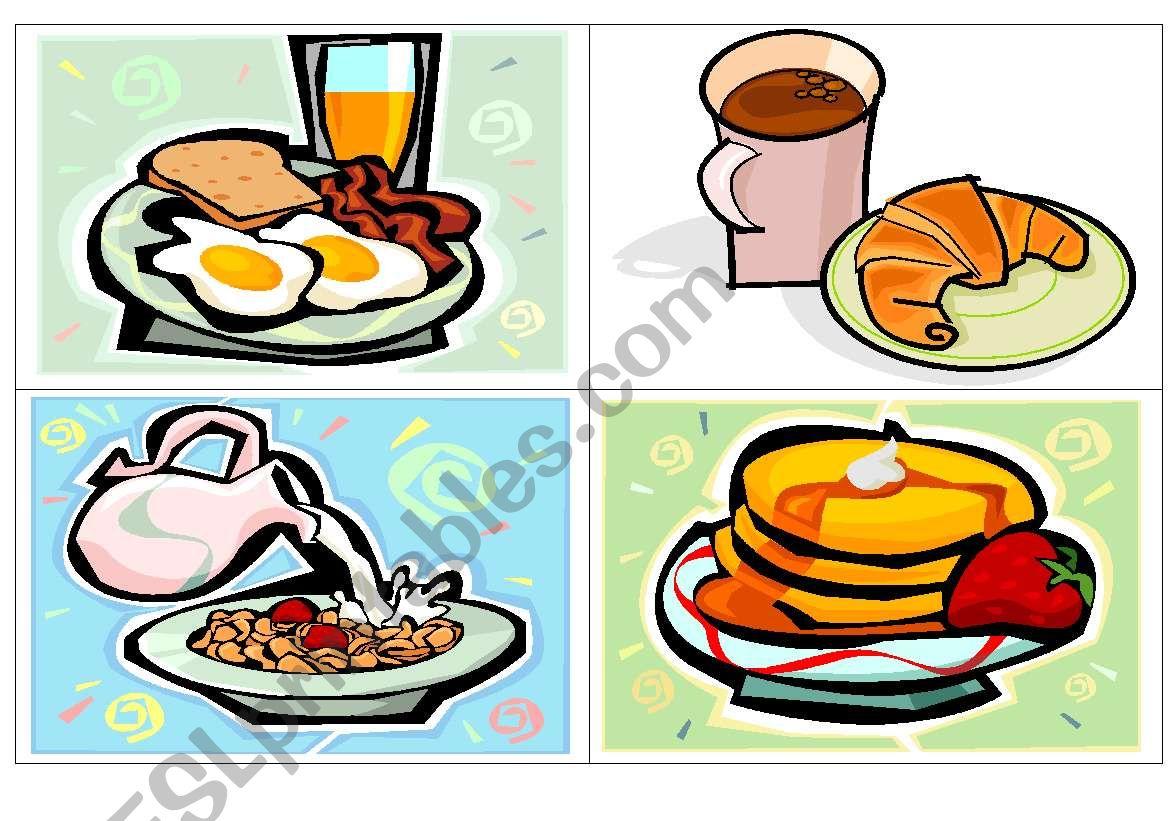 Breakfast flash-cards worksheet