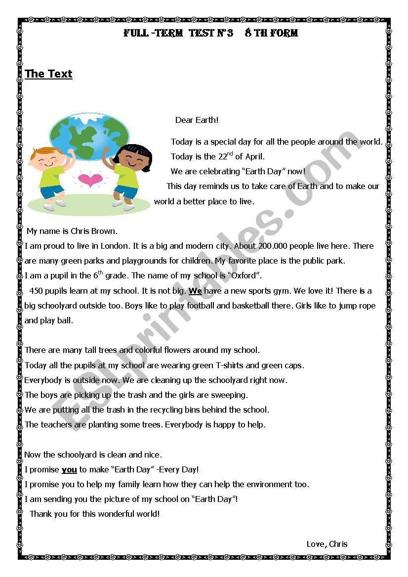full term test 8 th form worksheet