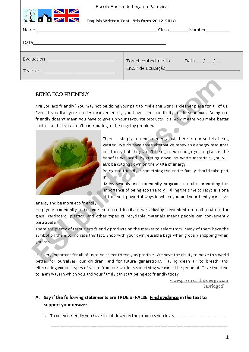 Test- Being Ecofriendly worksheet