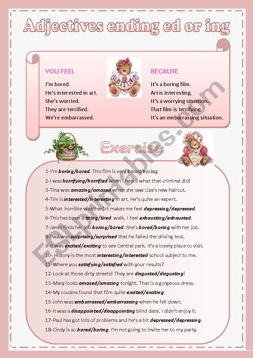 Adjectives ending ED or ING worksheet