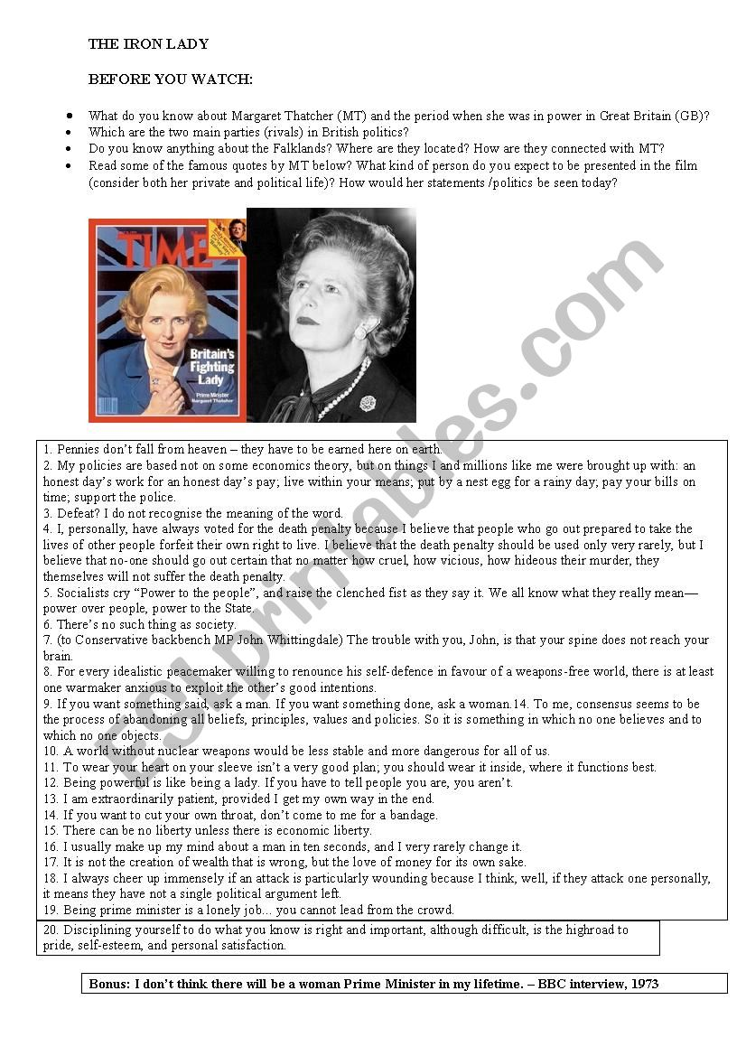 The Iron Lady worksheet