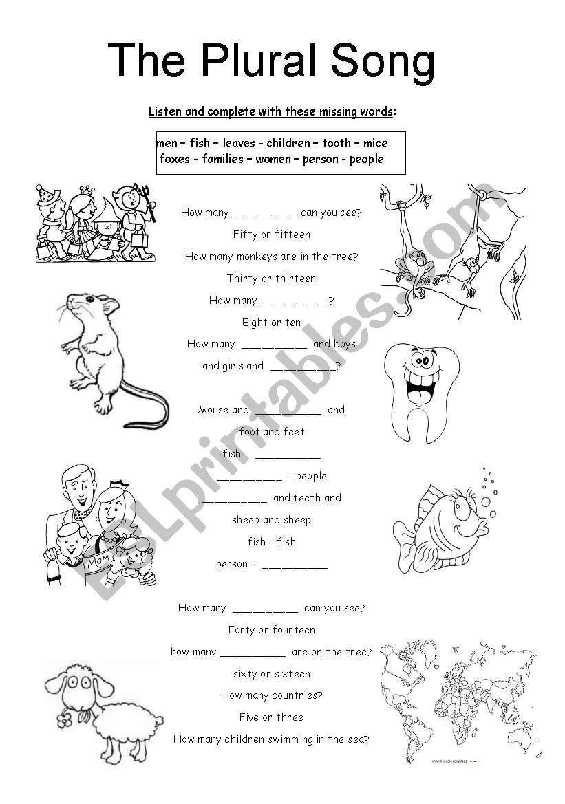 Song: The Plural Song worksheet