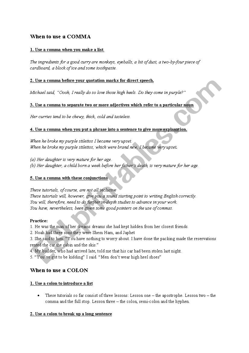 punctuation guide comma colon semi colon hyphen esl worksheet by julienglish. Black Bedroom Furniture Sets. Home Design Ideas