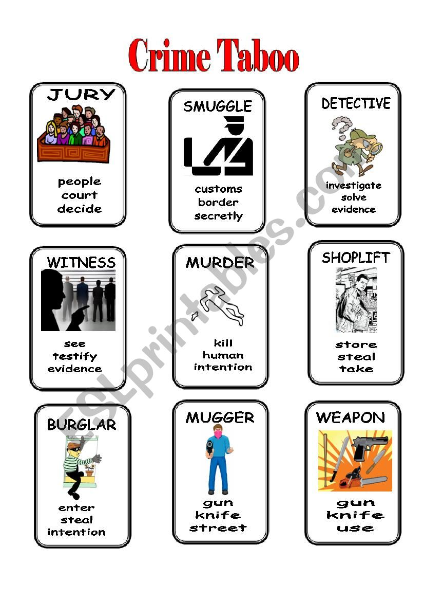 Crime Taboo 1/2 worksheet