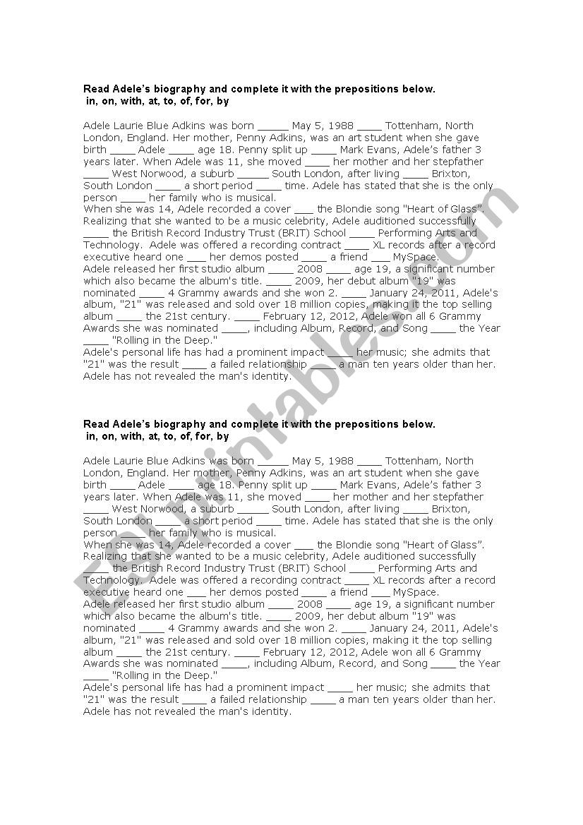 Adele´s Biography worksheet