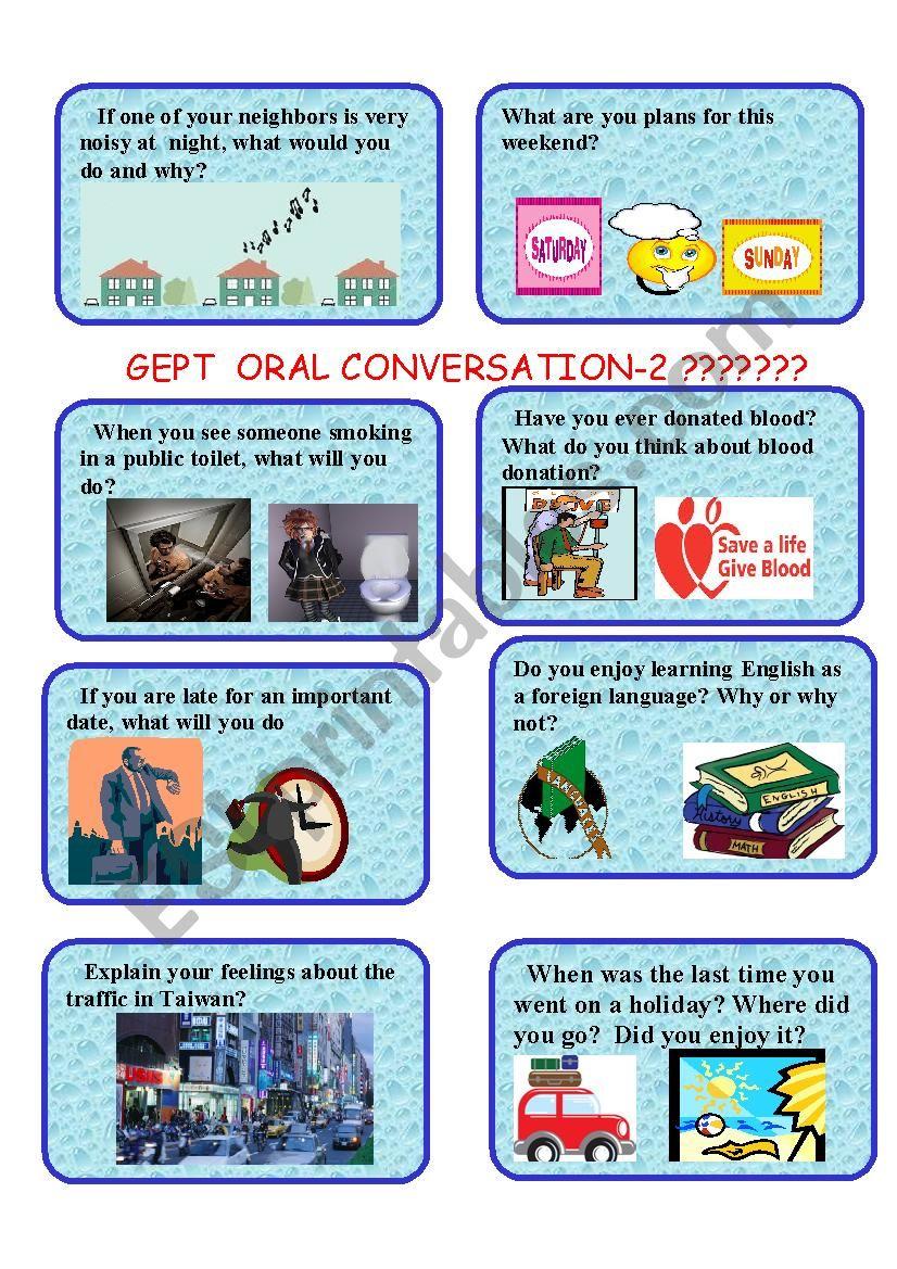 GEPT ORAL CARDS-2 worksheet