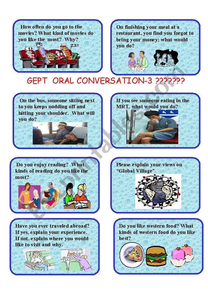 GEPT ORAL CARDS-3 worksheet