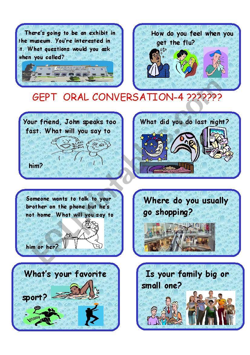 GEPT ORAL CARDS-4 worksheet