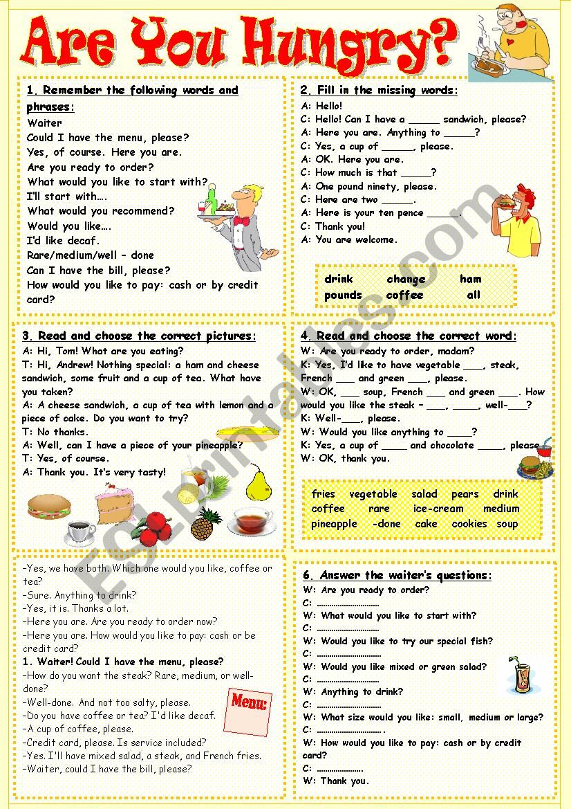 Are you hungry? worksheet