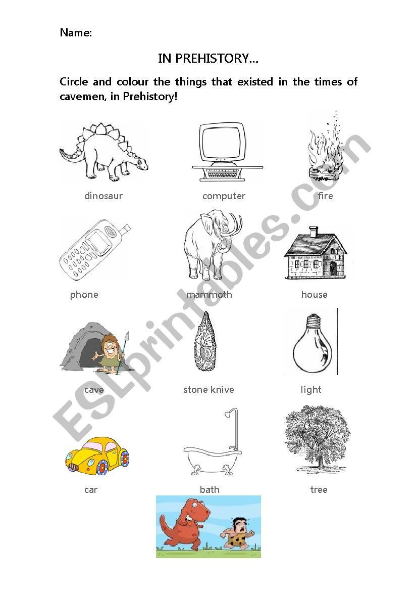 In prehistory worksheet