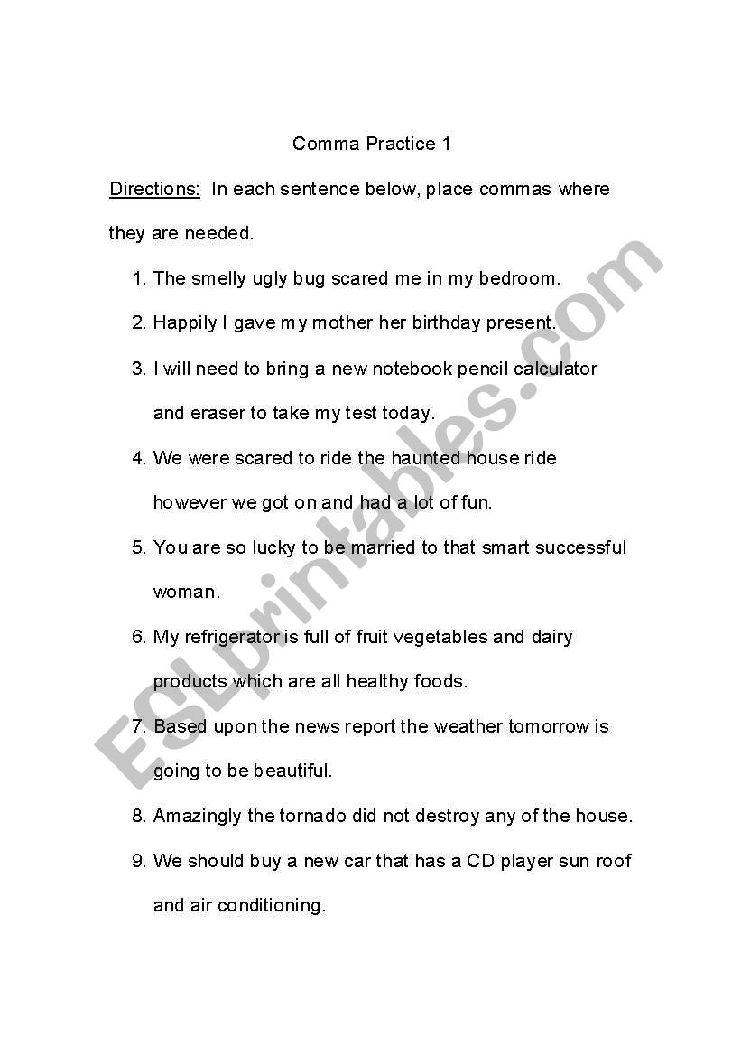 worksheet Comma Practice Worksheet english worksheets comma practice worksheet