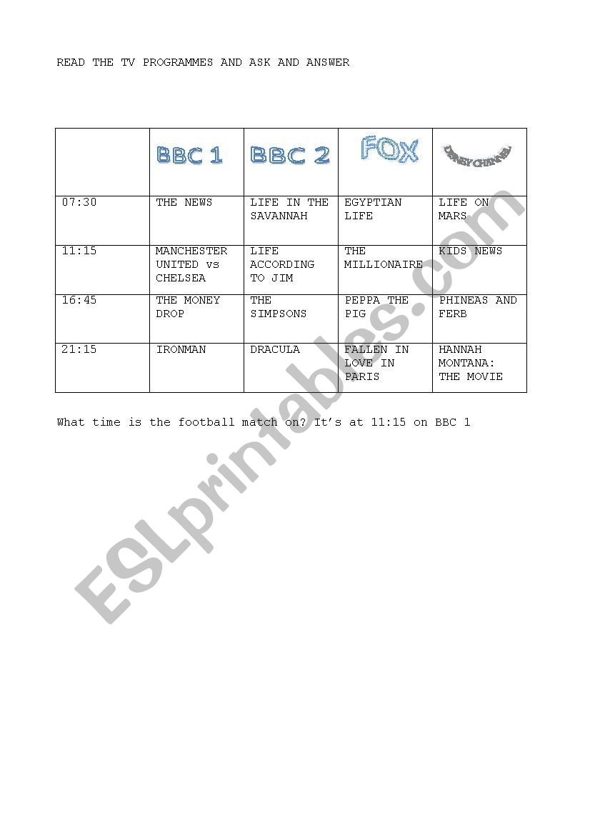 tv programmes worksheet
