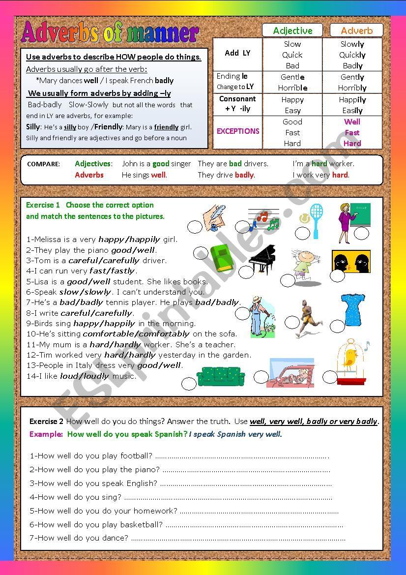 ADVERBS OF MANNER starters worksheet