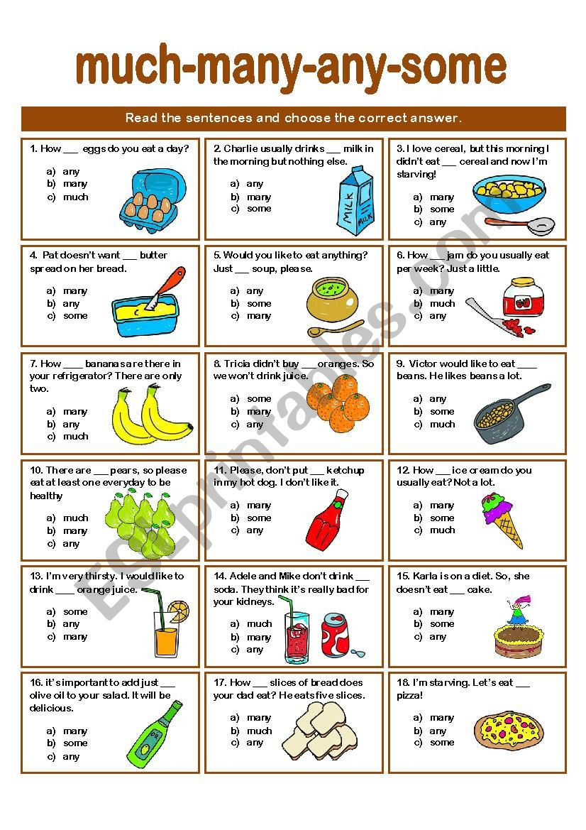 SOME-ANY-MANY-MUCH QUIZ worksheet