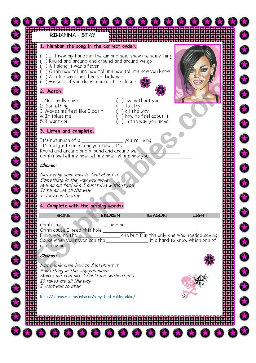 RIHANNA - STAY worksheet
