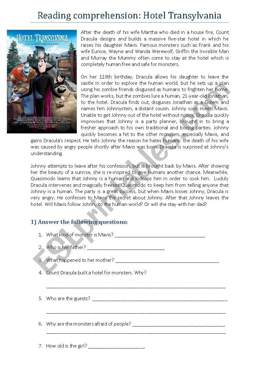 - Reading Comprehension: Hotel Transylvania - ESL Worksheet By