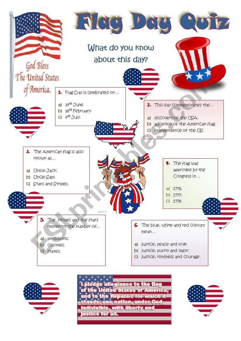 FLAG DAY - 14th JUNE  - QUIZ worksheet