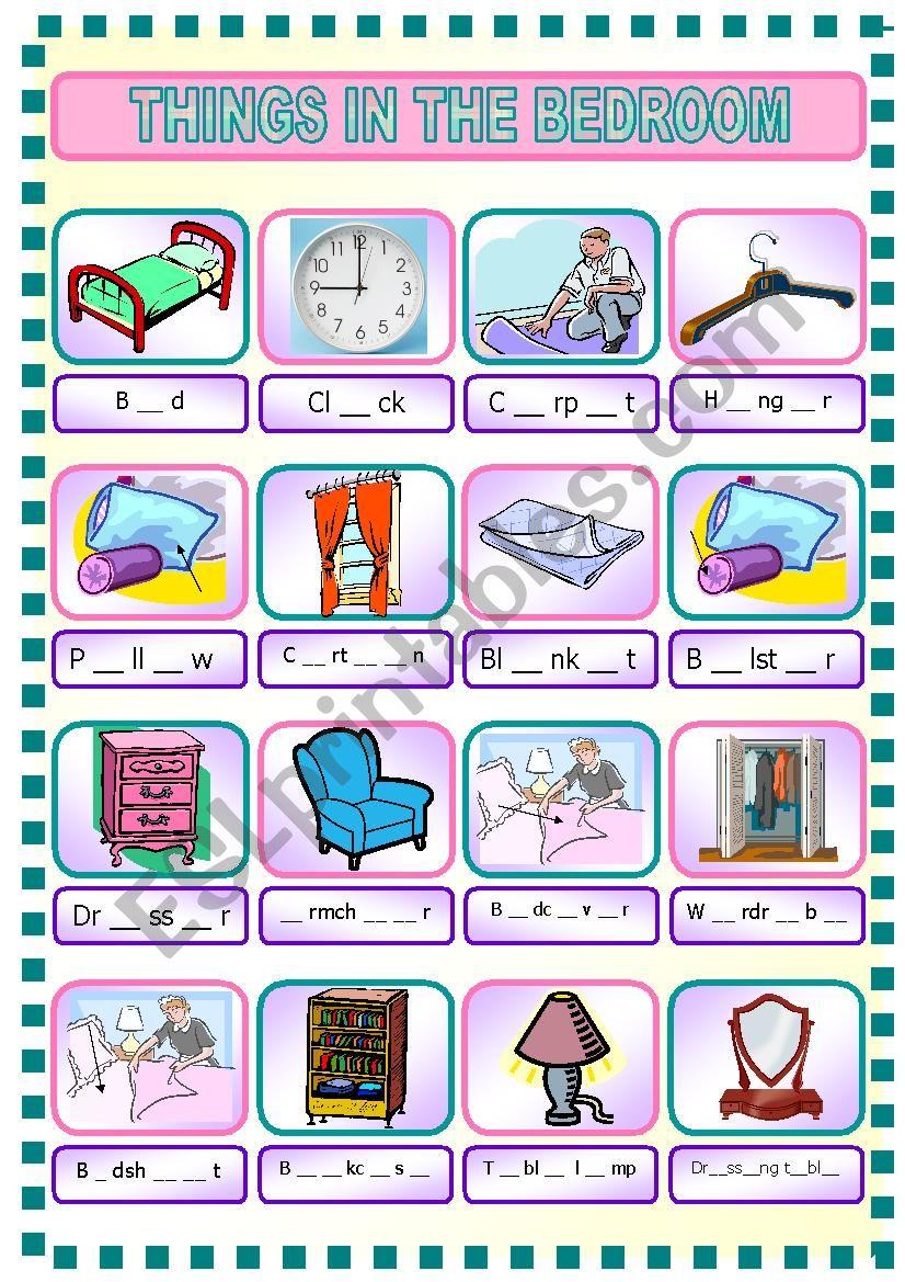 Things in Bedroom - ESL worksheet by Rhae