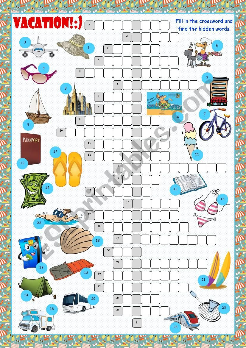 Vacation Crossword Puzzle worksheet