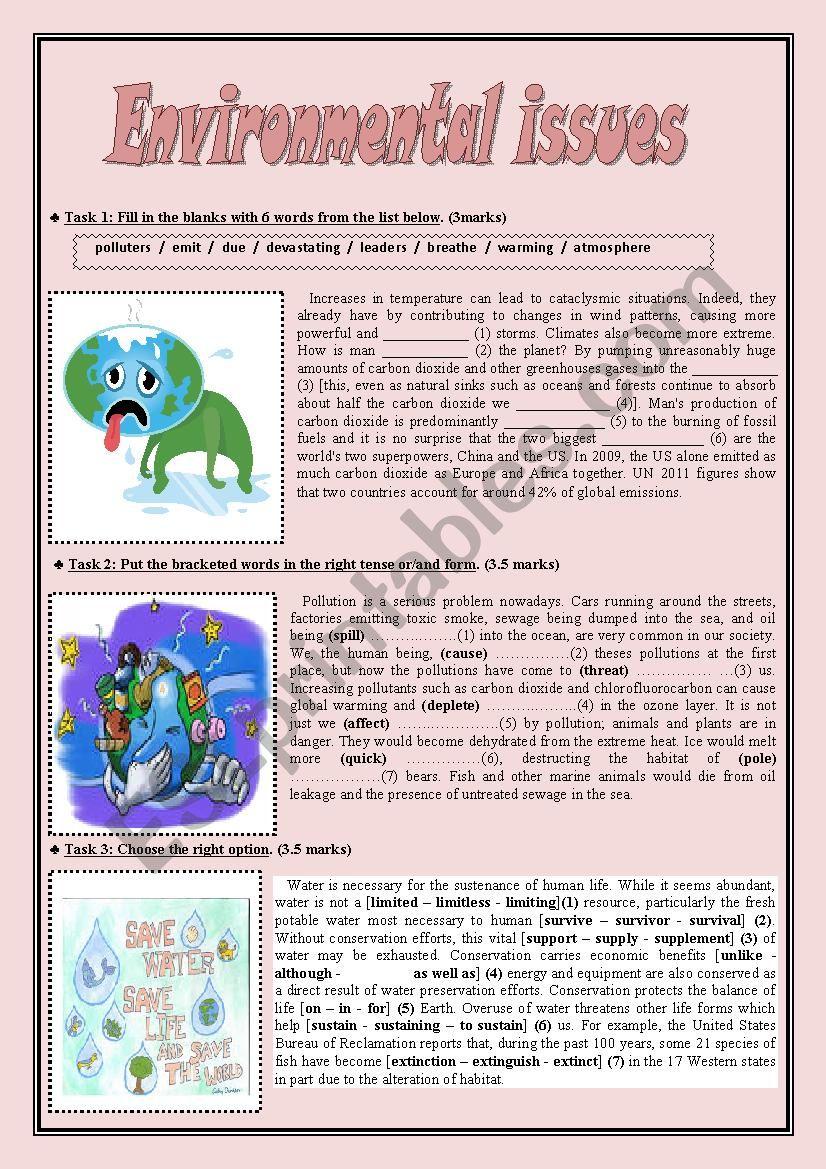 Environmental issues worksheet