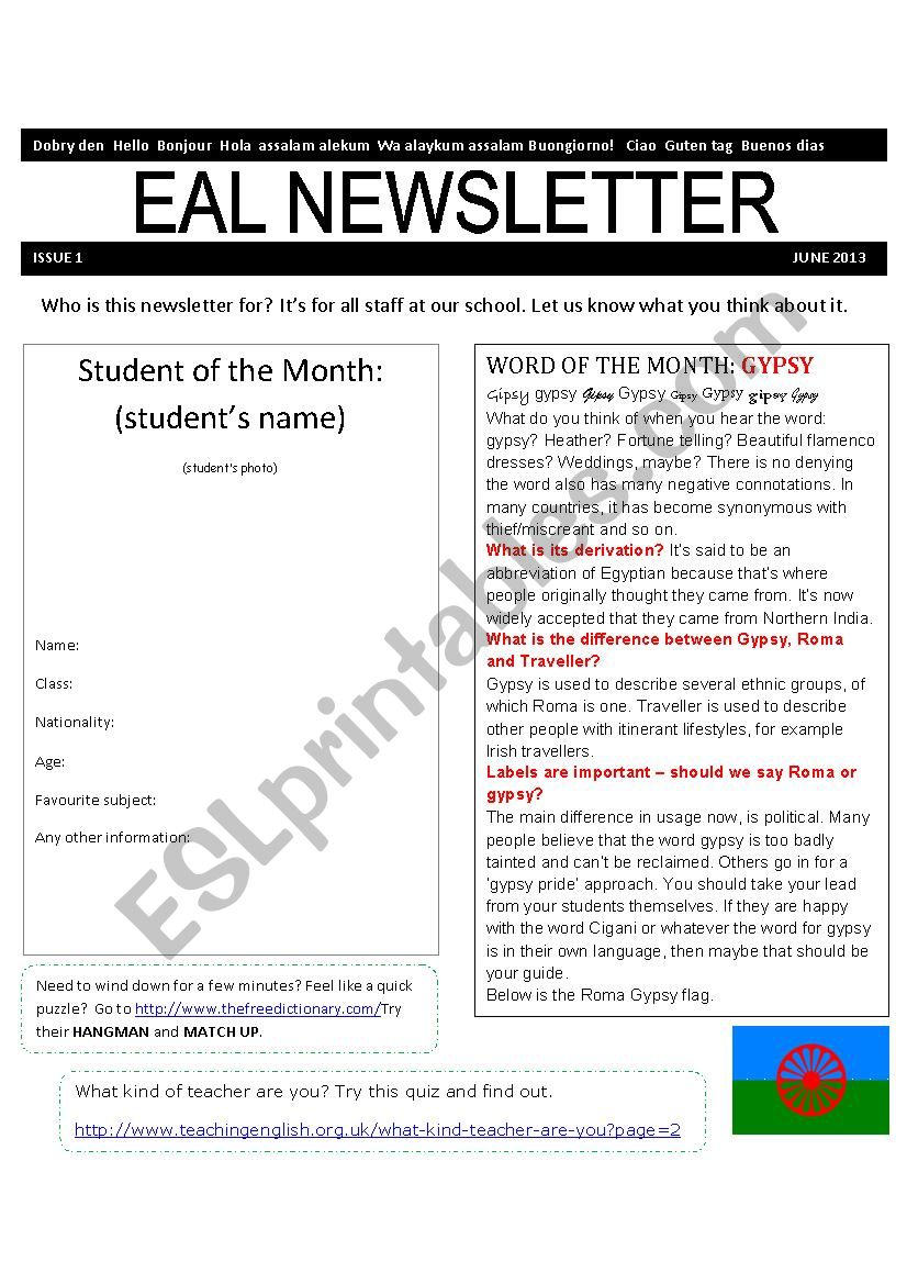 ESL Newsletter worksheet