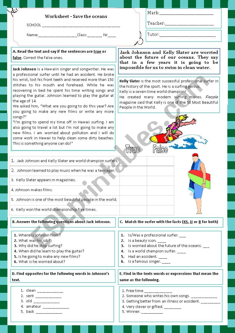 worksheet- Save the oceans (11.06.13)