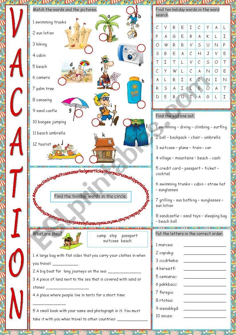 Vacation Vocabulary Exercises worksheet