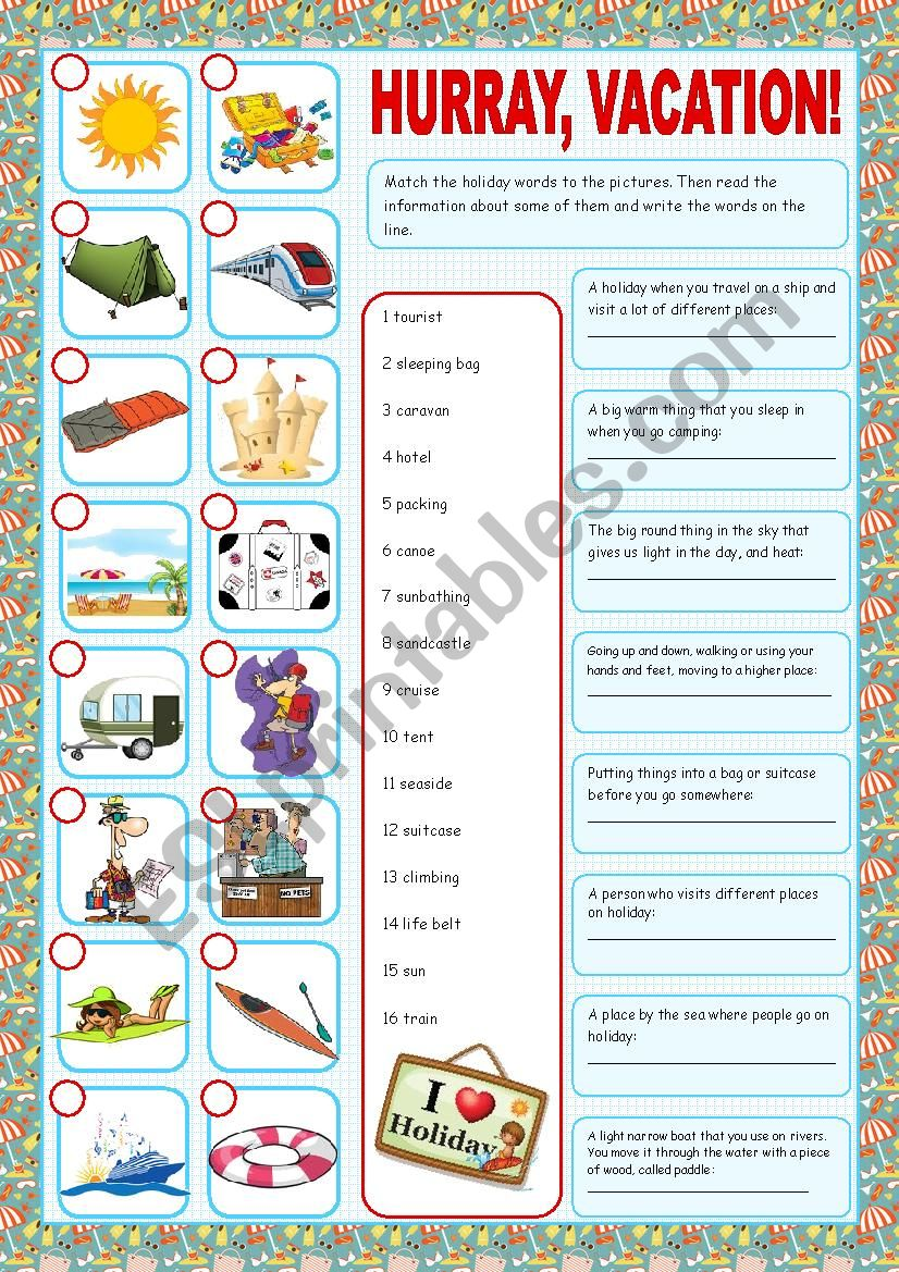 Vacation (Matching exercises) worksheet