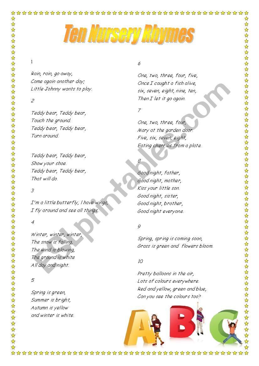 10 Nursery Rhymes Tasks Esl